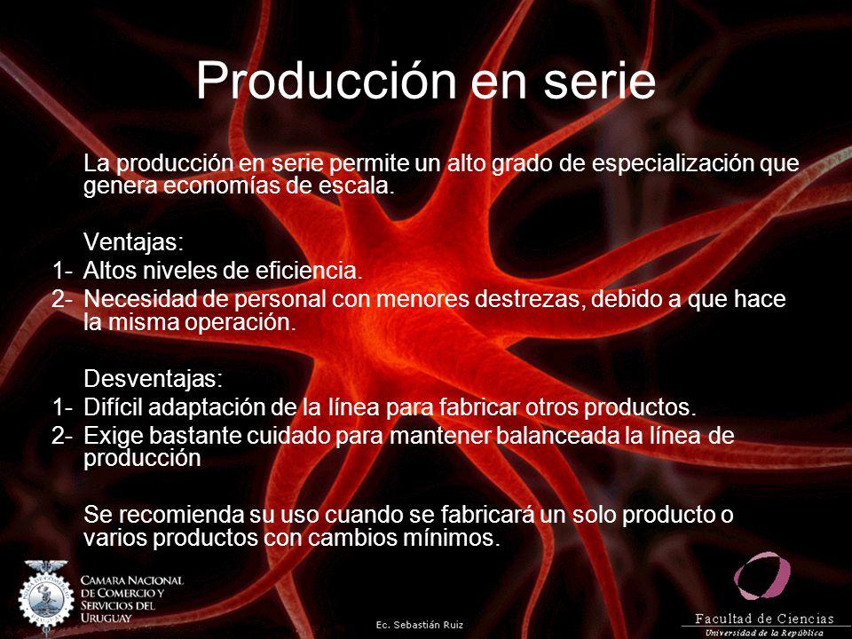 Producción en serie La producción en serie permite un alto grado de especialización que genera economías de escala. Ventajas: 1-Altos niveles de efici