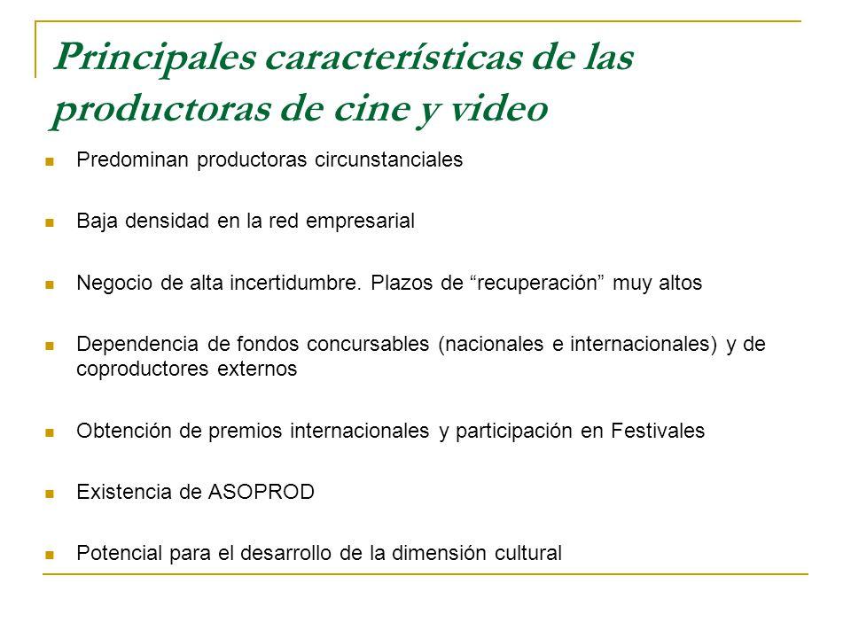 Principales características de las productoras de cine y video Predominan productoras circunstanciales Baja densidad en la red empresarial Negocio de alta incertidumbre.