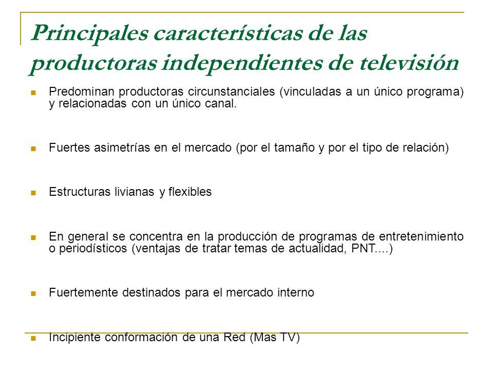 Principales características de las productoras independientes de televisión Predominan productoras circunstanciales (vinculadas a un único programa) y relacionadas con un único canal.