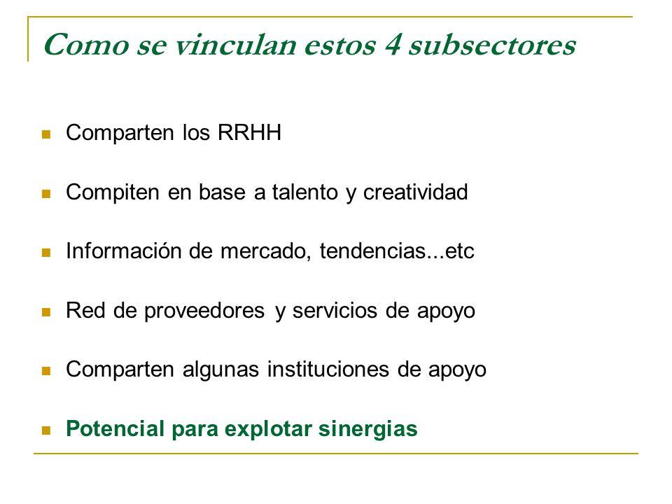 Como se vinculan estos 4 subsectores Comparten los RRHH Compiten en base a talento y creatividad Información de mercado, tendencias...etc Red de proveedores y servicios de apoyo Comparten algunas instituciones de apoyo Potencial para explotar sinergias