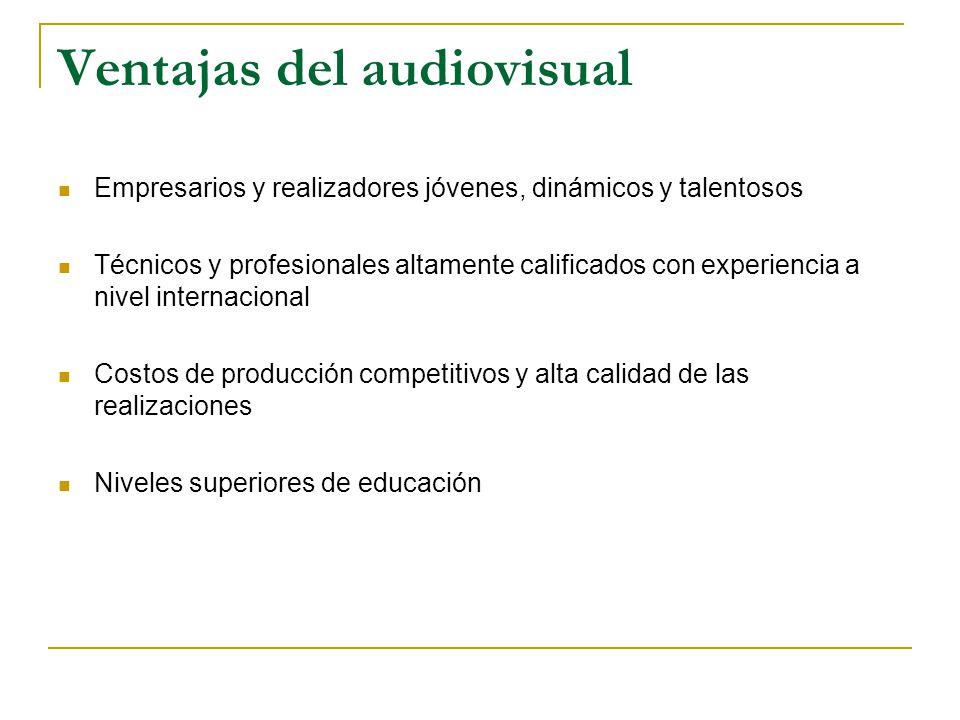 Ventajas del audiovisual Empresarios y realizadores jóvenes, dinámicos y talentosos Técnicos y profesionales altamente calificados con experiencia a nivel internacional Costos de producción competitivos y alta calidad de las realizaciones Niveles superiores de educación