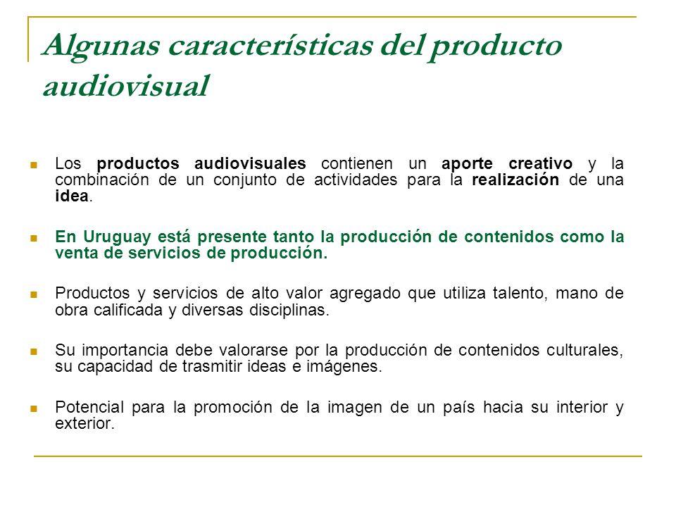Algunas características del producto audiovisual Los productos audiovisuales contienen un aporte creativo y la combinación de un conjunto de actividades para la realización de una idea.