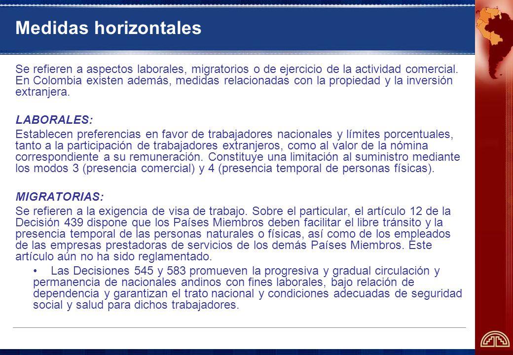 Medidas horizontales Se refieren a aspectos laborales, migratorios o de ejercicio de la actividad comercial.