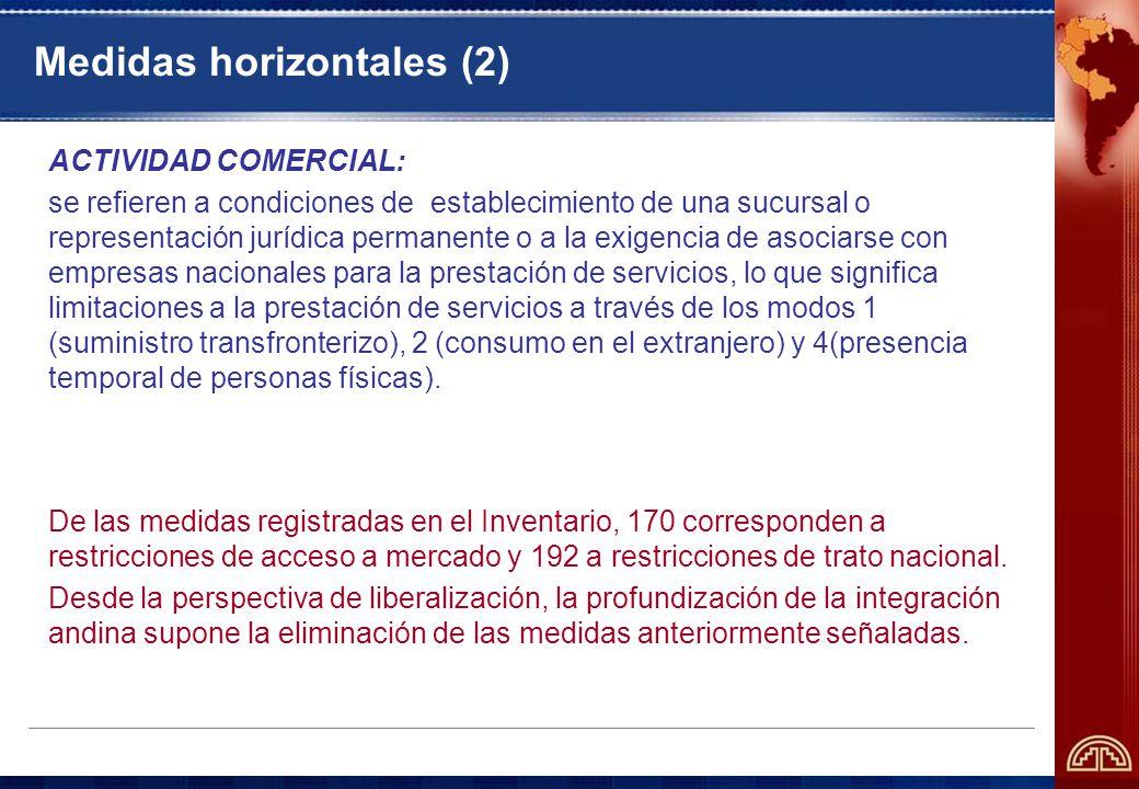 Medidas horizontales (2) ACTIVIDAD COMERCIAL: se refieren a condiciones de establecimiento de una sucursal o representación jurídica permanente o a la exigencia de asociarse con empresas nacionales para la prestación de servicios, lo que significa limitaciones a la prestación de servicios a través de los modos 1 (suministro transfronterizo), 2 (consumo en el extranjero) y 4(presencia temporal de personas físicas).