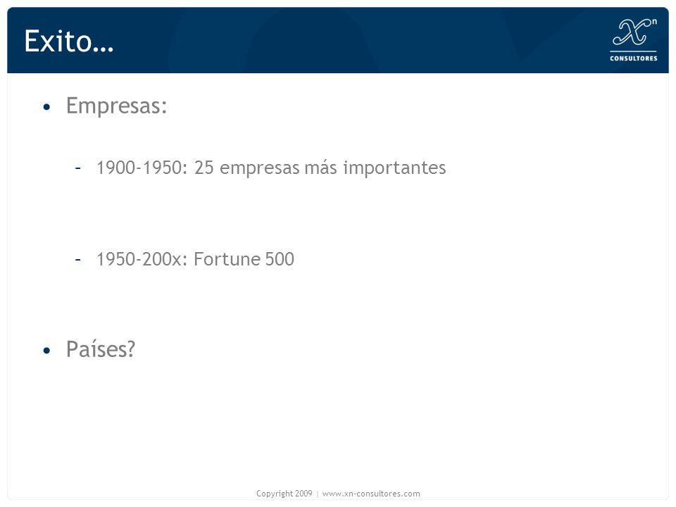 Exito… Empresas: –1900-1950: 25 empresas más importantes –1950-200x: Fortune 500 Países? Copyright 2009 | www.xn-consultores.com