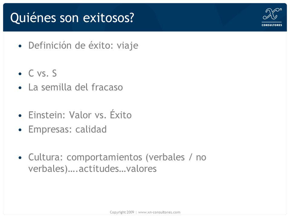 Quiénes son exitosos? Definición de éxito: viaje C vs. S La semilla del fracaso Einstein: Valor vs. Éxito Empresas: calidad Cultura: comportamientos (