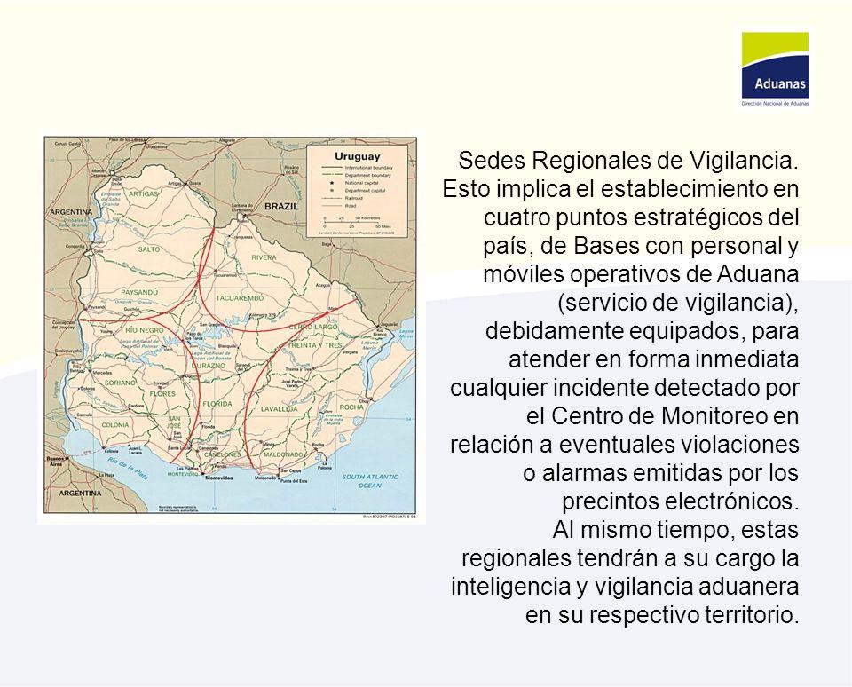 Sedes Regionales de Vigilancia. Esto implica el establecimiento en cuatro puntos estratégicos del país, de Bases con personal y móviles operativos de