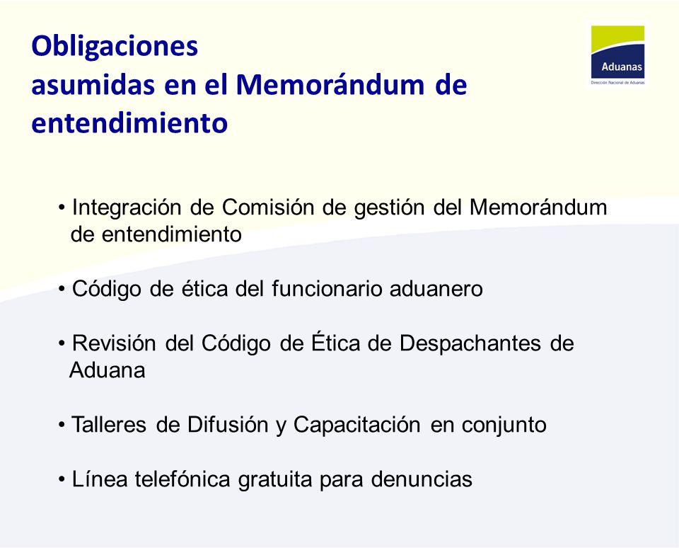 Obligaciones asumidas en el Memorándum de entendimiento Integración de Comisión de gestión del Memorándum de entendimiento Código de ética del funcionario aduanero Revisión del Código de Ética de Despachantes de Aduana Talleres de Difusión y Capacitación en conjunto Línea telefónica gratuita para denuncias