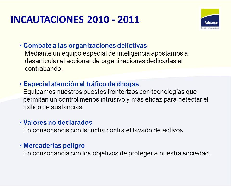 INCAUTACIONES 2010 - 2011 Combate a las organizaciones delictivas Mediante un equipo especial de inteligencia apostamos a desarticular el accionar de organizaciones dedicadas al contrabando.