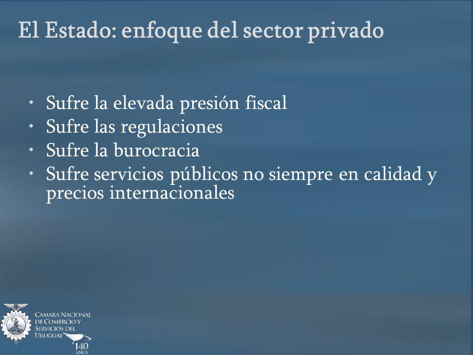 El Estado: enfoque del sector privado Sufre la elevada presión fiscal Sufre las regulaciones Sufre la burocracia Sufre servicios públicos no siempre en calidad y precios internacionales