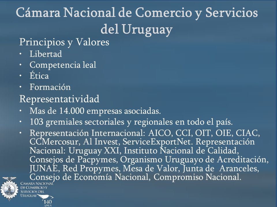 Principios y Valores Libertad Competencia leal Ética Formación Representatividad Mas de 14.000 empresas asociadas. 103 gremiales sectoriales y regiona
