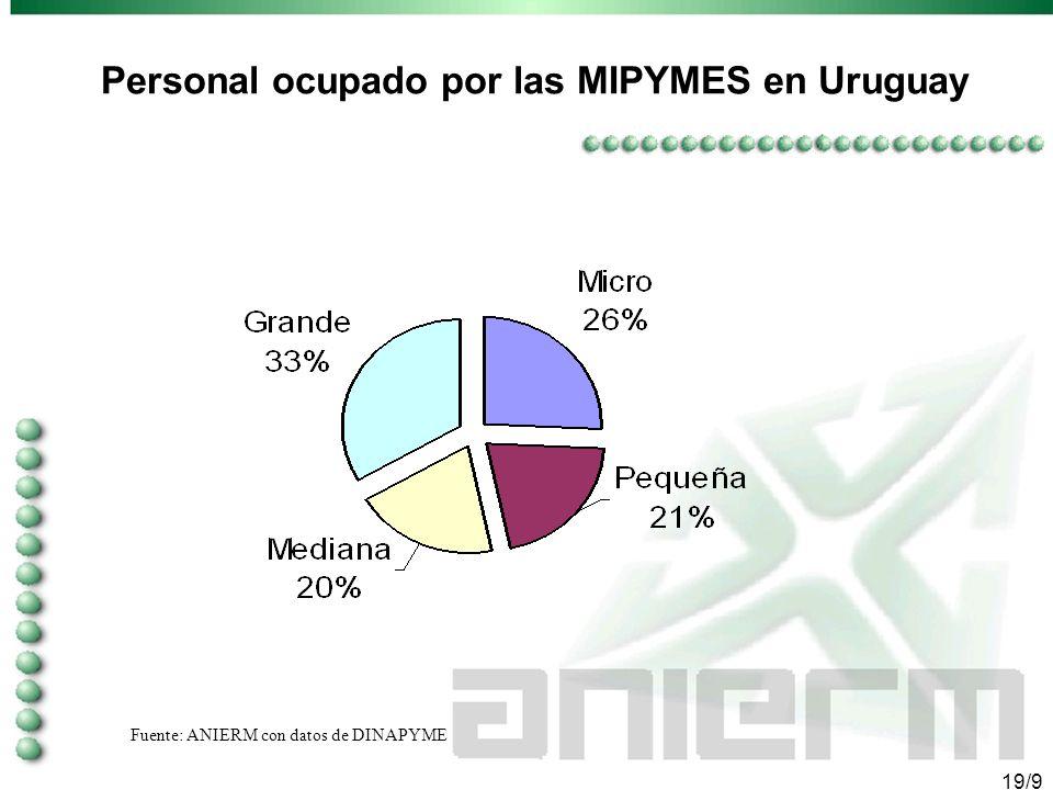 18/9 Estructura empresarial en Uruguay Fuente: ANIERM con datos de DINAPYME