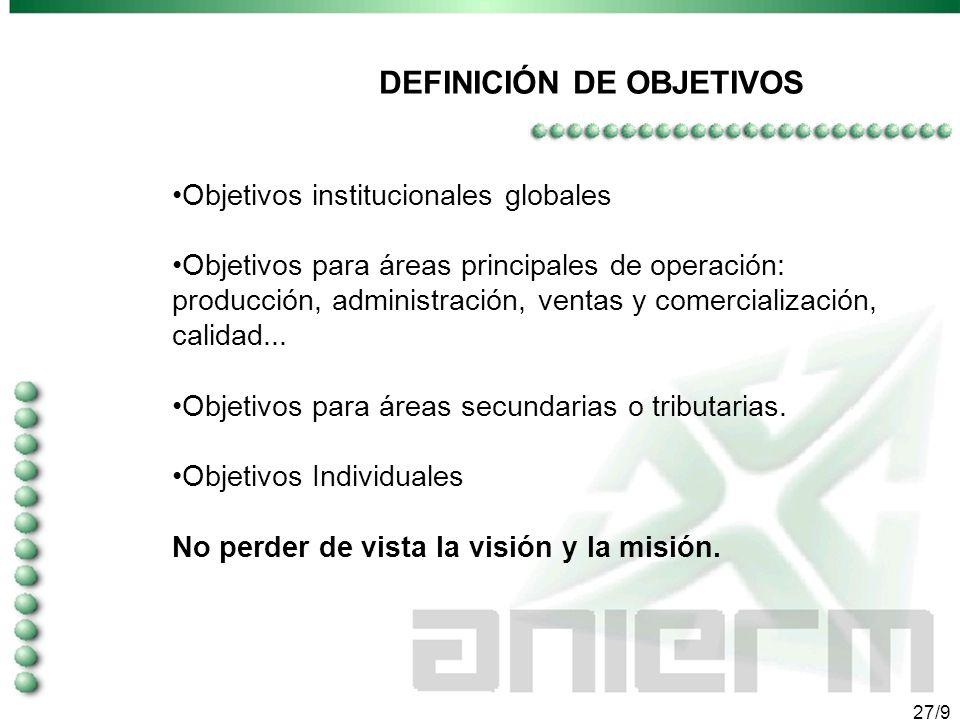 26/9 OBJETIVOS A CORTO, MEDIANO Y LARGO PLAZO LOS OBJETIVOS son los puntos intermedios de la misión.