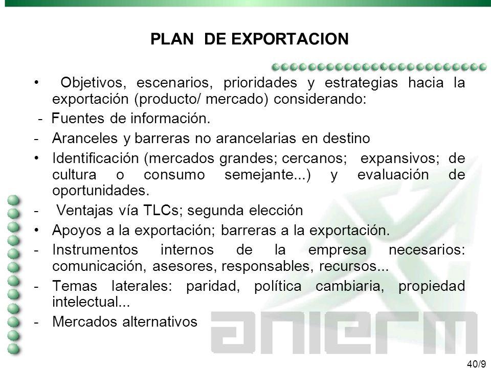 39/9 EVALUAR LA CAPACIDAD EXPORTADORA Flexibilidad de la capacidad de producción Cambios en el producto para adecuarlo a otras demandas Ventajas compa