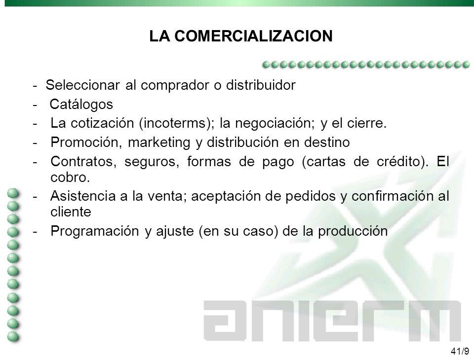 40/9 PLAN DE EXPORTACION Objetivos, escenarios, prioridades y estrategias hacia la exportación (producto/ mercado) considerando: - Fuentes de informac