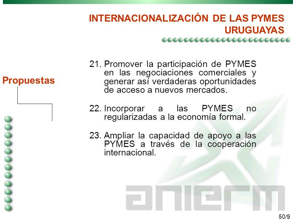 49/9 Propuestas INTERNACIONALIZACIÓN DE LAS PYMES URUGUAYAS 16.Implementar mejores mecanismos de coordinación entre el sector público y privado para eficientar la ayuda para las PYMES.
