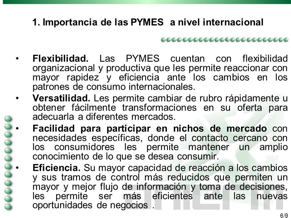 5/9 1. Importancia de las PYMES a nivel internacional El aporte de las PYMES puede ser decisivo en dos planos cruciales: Como factor de creación de em