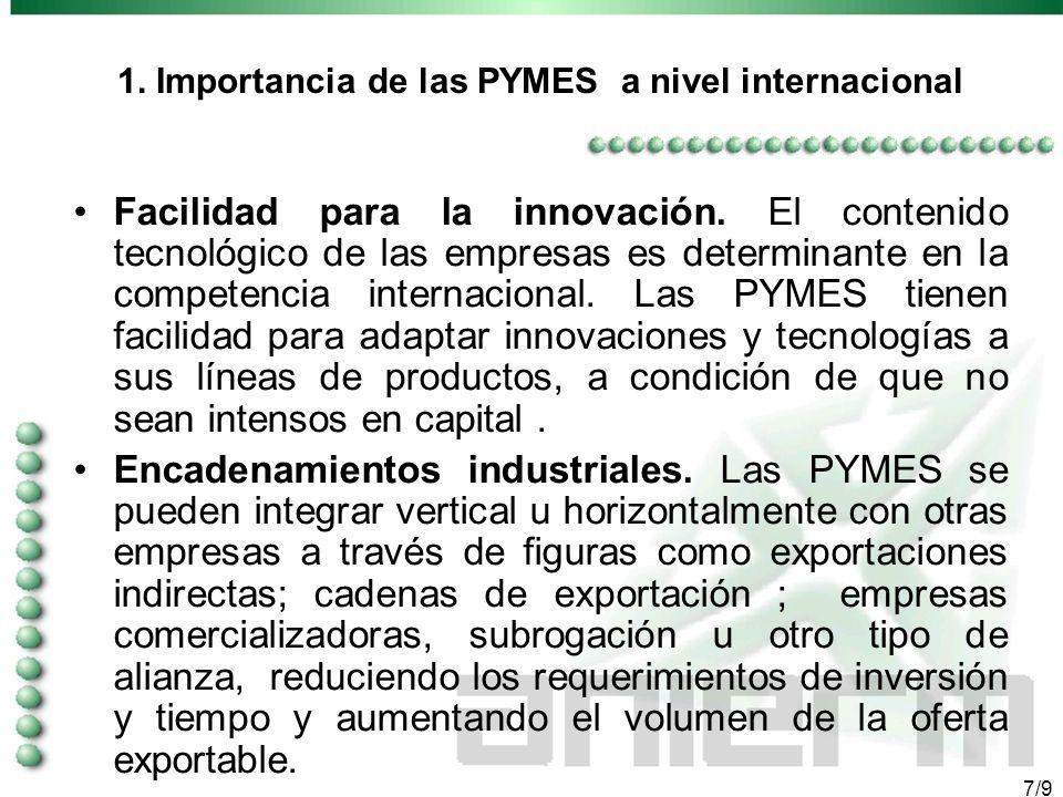 6/9 1. Importancia de las PYMES a nivel internacional Flexibilidad. Las PYMES cuentan con flexibilidad organizacional y productiva que les permite rea