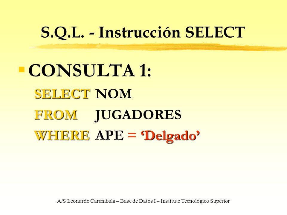 A/S Leonardo Carámbula – Base de Datos I – Instituto Tecnológico Superior S.Q.L. - Instrucción SELECT CONSULTA 1: SELECT SELECT NOM FROM FROM JUGADORE