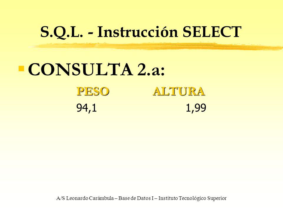 A/S Leonardo Carámbula – Base de Datos I – Instituto Tecnológico Superior S.Q.L. - Instrucción SELECT CONSULTA 2.a: PESOALTURA 94,11,99