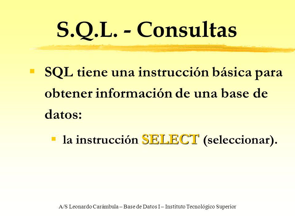 A/S Leonardo Carámbula – Base de Datos I – Instituto Tecnológico Superior S.Q.L. - Consultas SQL tiene una instrucción básica para obtener información