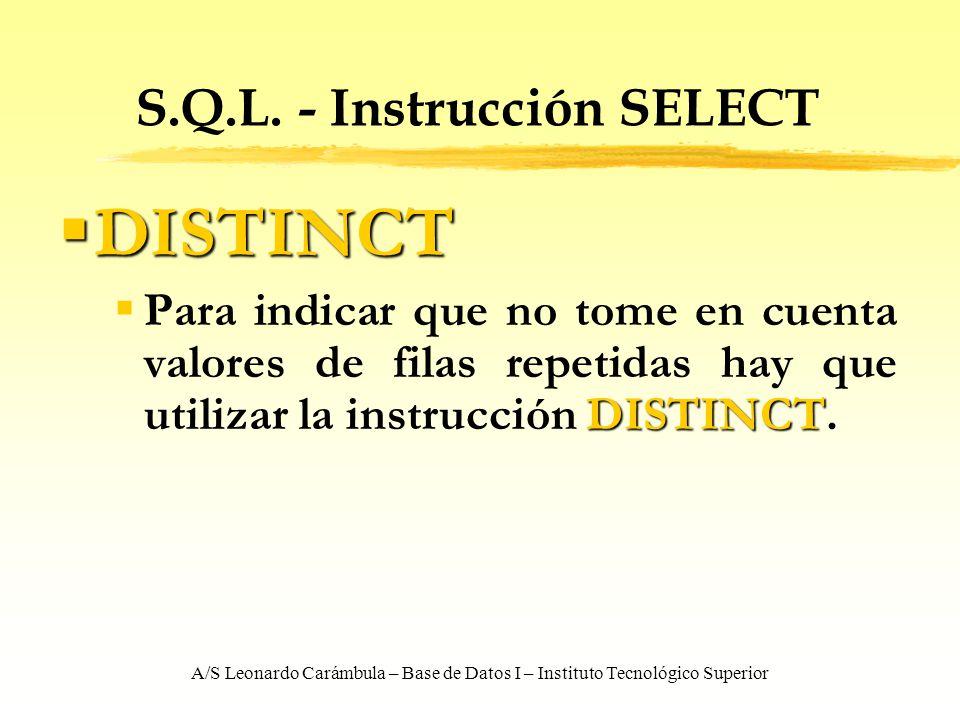 A/S Leonardo Carámbula – Base de Datos I – Instituto Tecnológico Superior S.Q.L. - Instrucción SELECT DISTINCT DISTINCT DISTINCT Para indicar que no t