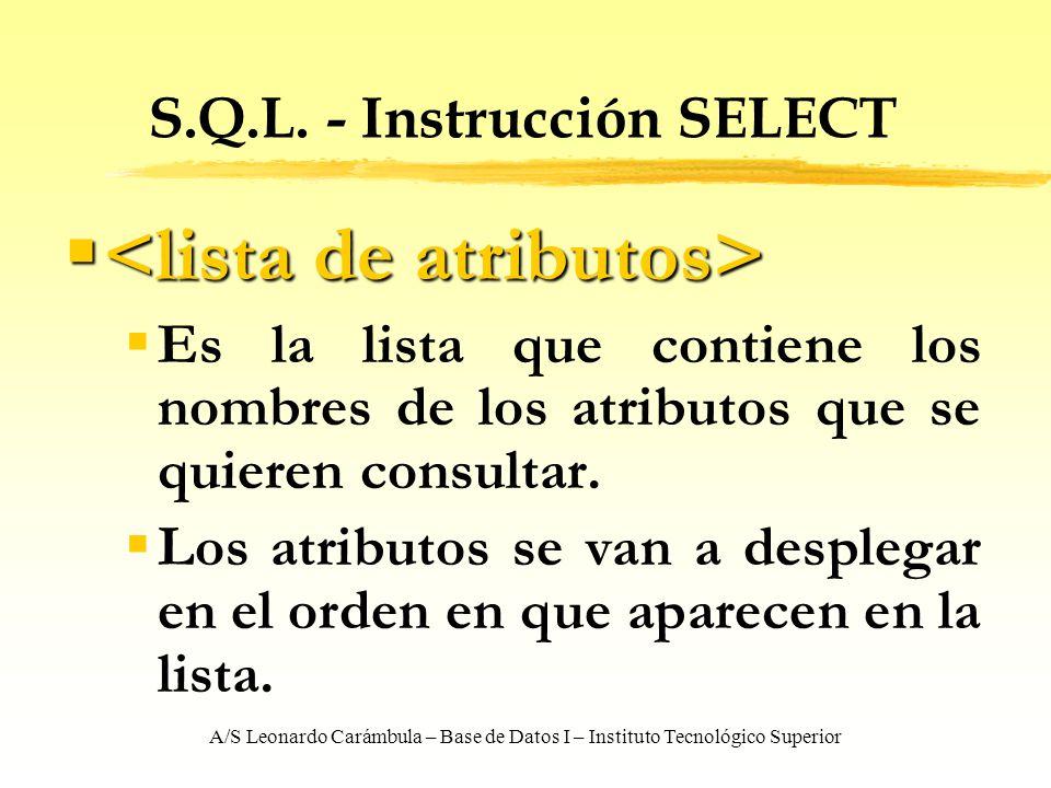 A/S Leonardo Carámbula – Base de Datos I – Instituto Tecnológico Superior S.Q.L. - Instrucción SELECT Es la lista que contiene los nombres de los atri