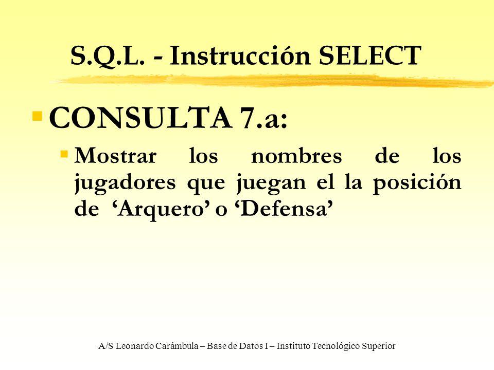 A/S Leonardo Carámbula – Base de Datos I – Instituto Tecnológico Superior S.Q.L. - Instrucción SELECT CONSULTA 7.a: Mostrar los nombres de los jugador