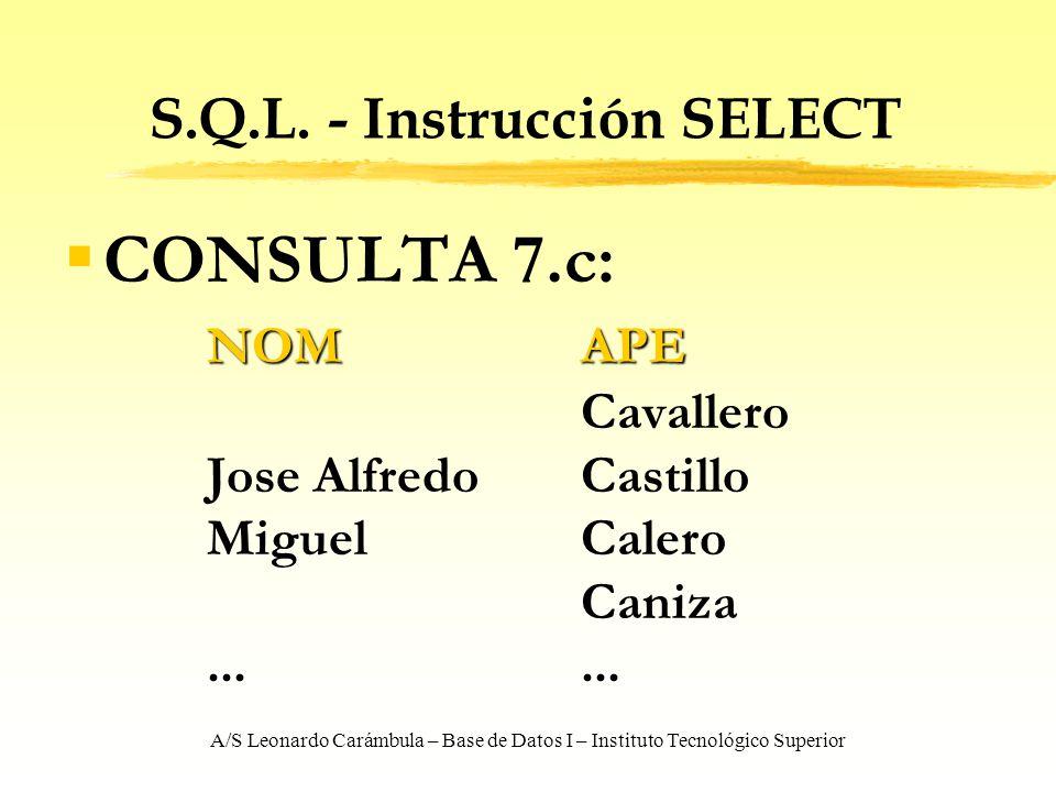A/S Leonardo Carámbula – Base de Datos I – Instituto Tecnológico Superior S.Q.L. - Instrucción SELECT CONSULTA 7.c: NOMAPE Cavallero Jose AlfredoCasti
