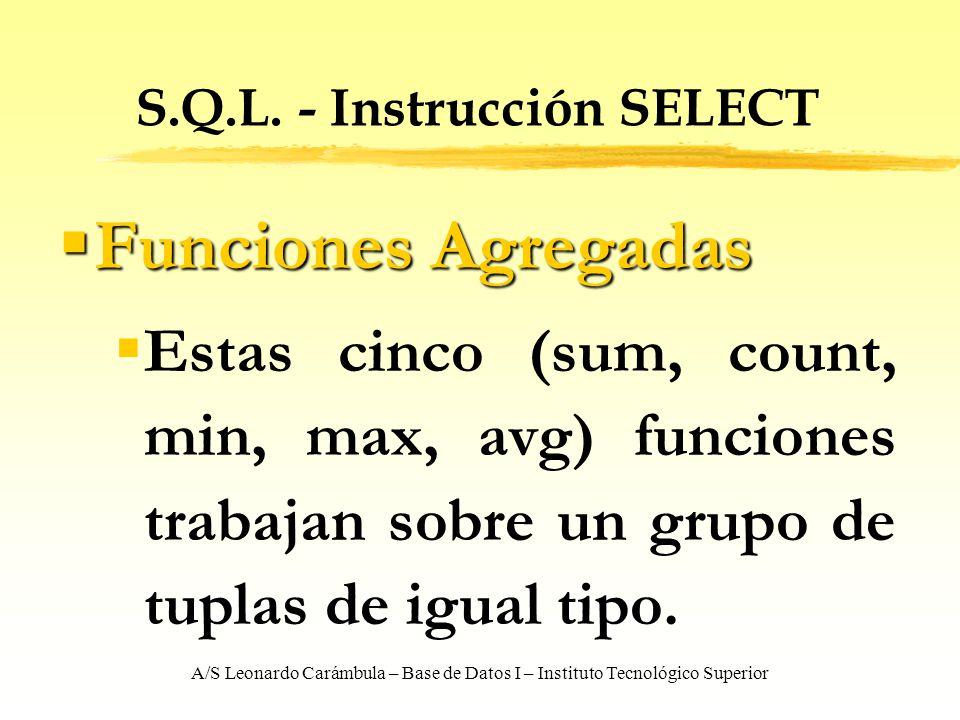 A/S Leonardo Carámbula – Base de Datos I – Instituto Tecnológico Superior S.Q.L. - Instrucción SELECT Funciones Agregadas Funciones Agregadas Estas ci