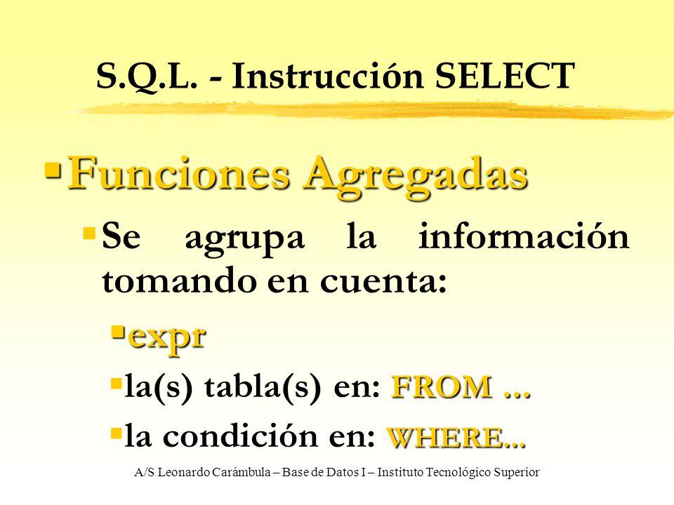 A/S Leonardo Carámbula – Base de Datos I – Instituto Tecnológico Superior S.Q.L. - Instrucción SELECT Funciones Agregadas Funciones Agregadas Se agrup