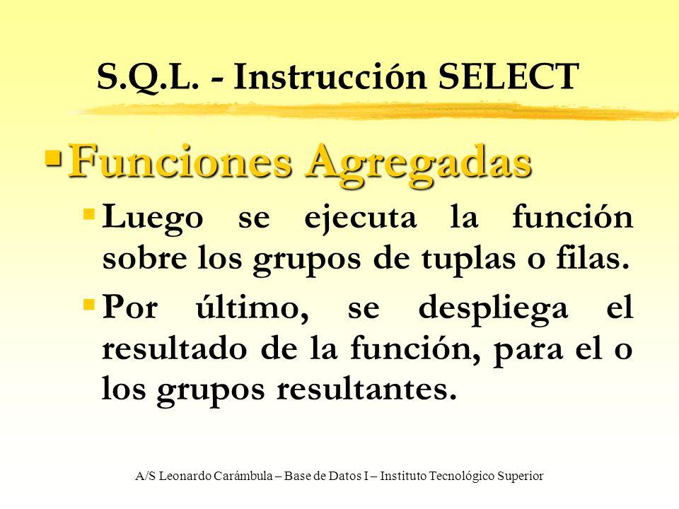 A/S Leonardo Carámbula – Base de Datos I – Instituto Tecnológico Superior S.Q.L. - Instrucción SELECT Funciones Agregadas Funciones Agregadas Luego se