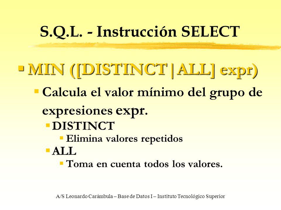 A/S Leonardo Carámbula – Base de Datos I – Instituto Tecnológico Superior S.Q.L. - Instrucción SELECT MIN ([DISTINCT ALL] expr) MIN ([DISTINCT ALL] ex