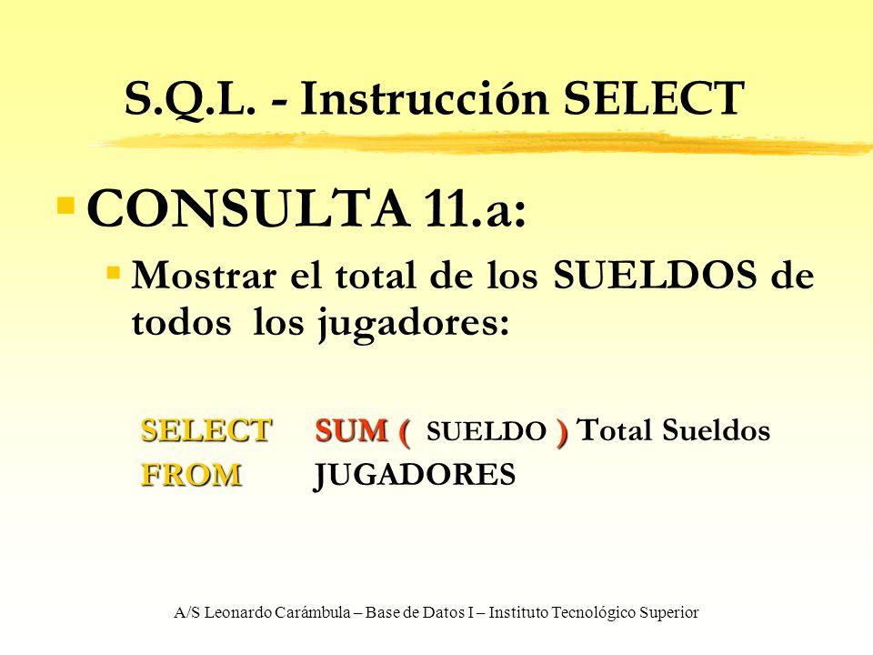 A/S Leonardo Carámbula – Base de Datos I – Instituto Tecnológico Superior S.Q.L. - Instrucción SELECT CONSULTA 11.a: Mostrar el total de los SUELDOS d