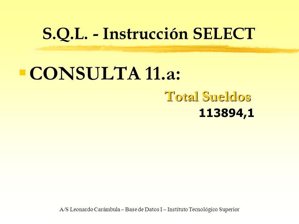 A/S Leonardo Carámbula – Base de Datos I – Instituto Tecnológico Superior S.Q.L. - Instrucción SELECT CONSULTA 11.a: Total Sueldos Total Sueldos 11389