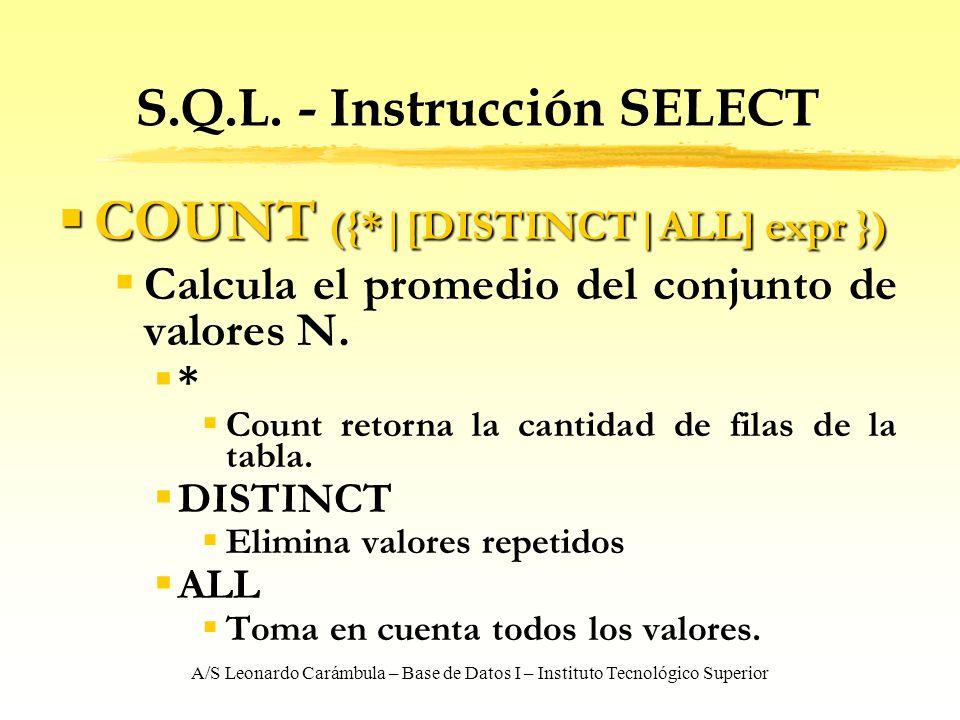 A/S Leonardo Carámbula – Base de Datos I – Instituto Tecnológico Superior S.Q.L. - Instrucción SELECT COUNT ({* [DISTINCT ALL] expr }) COUNT ({* [DIST