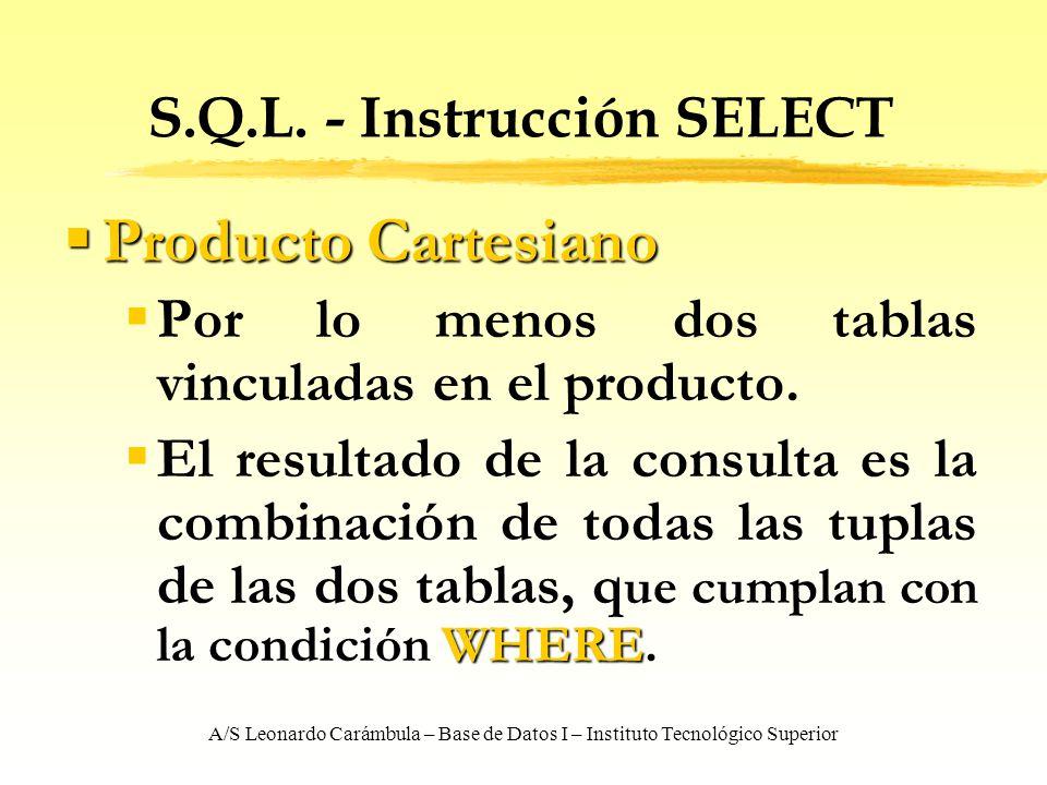 A/S Leonardo Carámbula – Base de Datos I – Instituto Tecnológico Superior S.Q.L. - Instrucción SELECT Producto Cartesiano Producto Cartesiano Por lo m