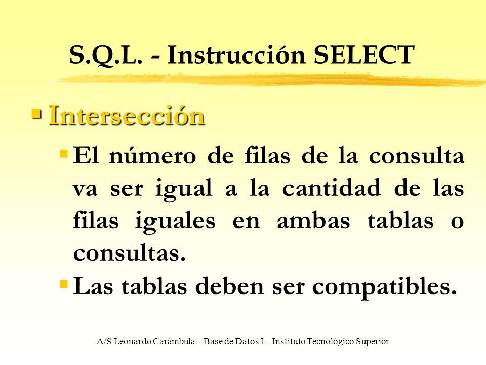 A/S Leonardo Carámbula – Base de Datos I – Instituto Tecnológico Superior S.Q.L. - Instrucción SELECT Intersección Intersección El número de filas de