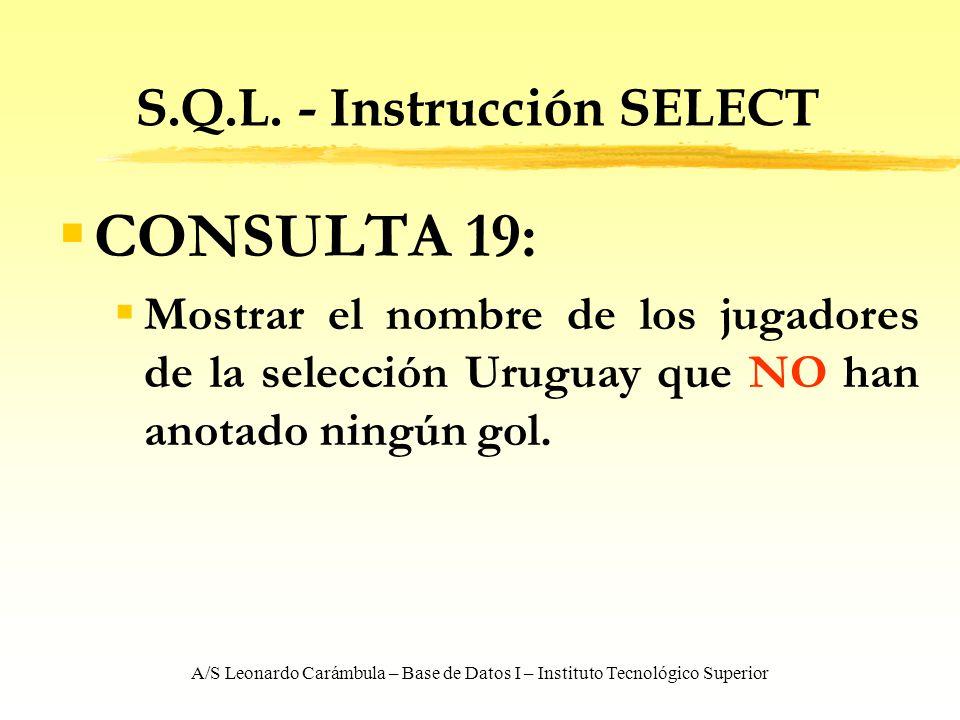 A/S Leonardo Carámbula – Base de Datos I – Instituto Tecnológico Superior S.Q.L. - Instrucción SELECT CONSULTA 19: Mostrar el nombre de los jugadores