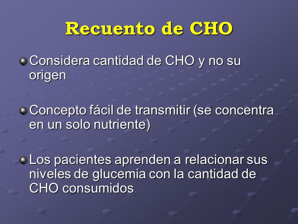Recuento de CHO Considera cantidad de CHO y no su origen Concepto fácil de transmitir (se concentra en un solo nutriente) Los pacientes aprenden a relacionar sus niveles de glucemia con la cantidad de CHO consumidos