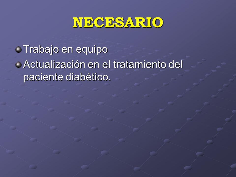 NECESARIO Trabajo en equipo Actualización en el tratamiento del paciente diabético.