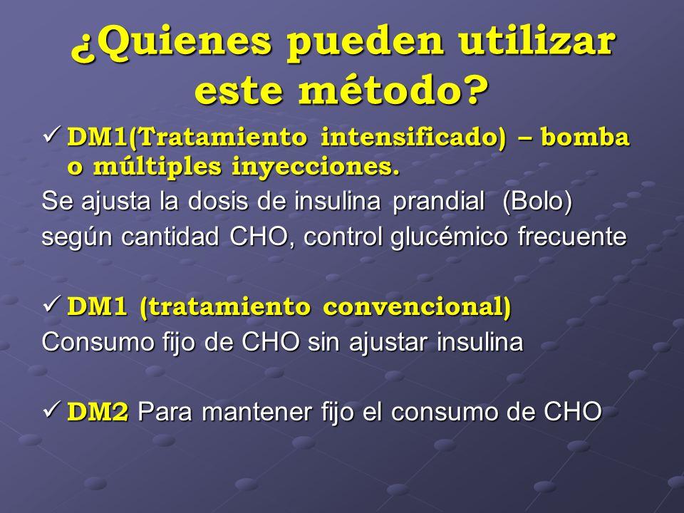¿Quienes pueden utilizar este método? DM1(Tratamiento intensificado) – bomba o múltiples inyecciones. DM1(Tratamiento intensificado) – bomba o múltipl