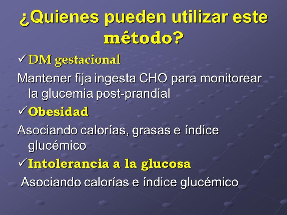 ¿Quienes pueden utilizar este método? DM gestacional DM gestacional Mantener fija ingesta CHO para monitorear la glucemia post-prandial Obesidad Obesi
