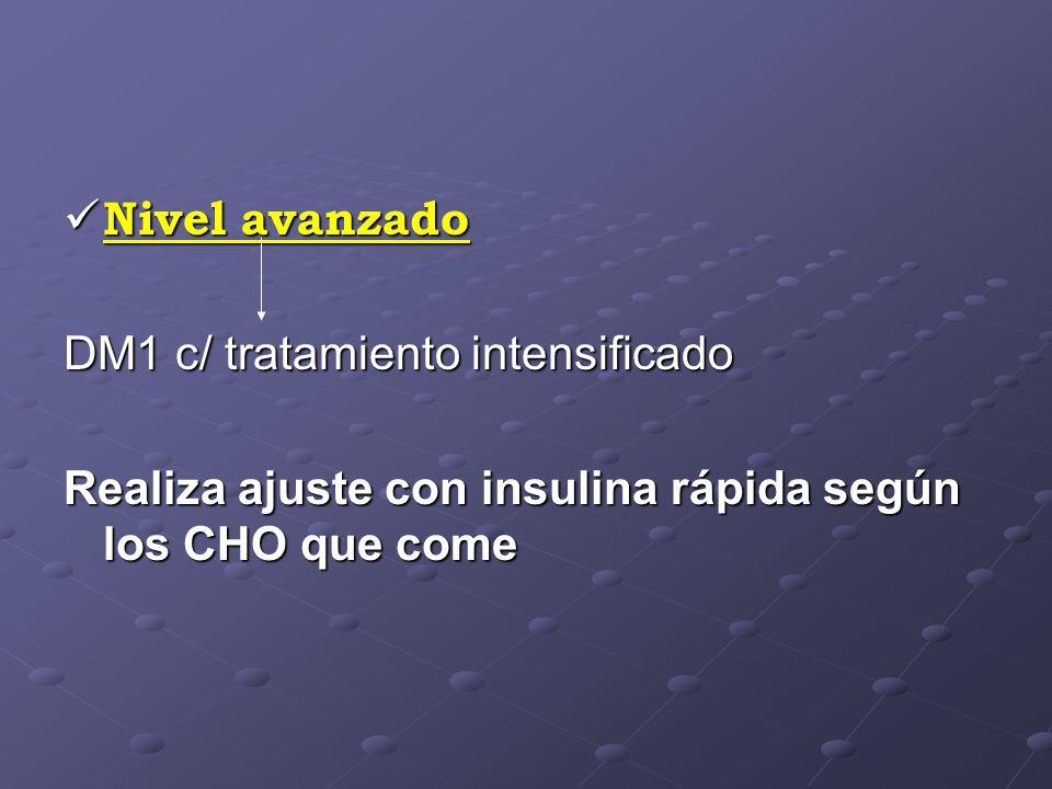 Nivel avanzado Nivel avanzado DM1 c/ tratamiento intensificado Realiza ajuste con insulina rápida según los CHO que come