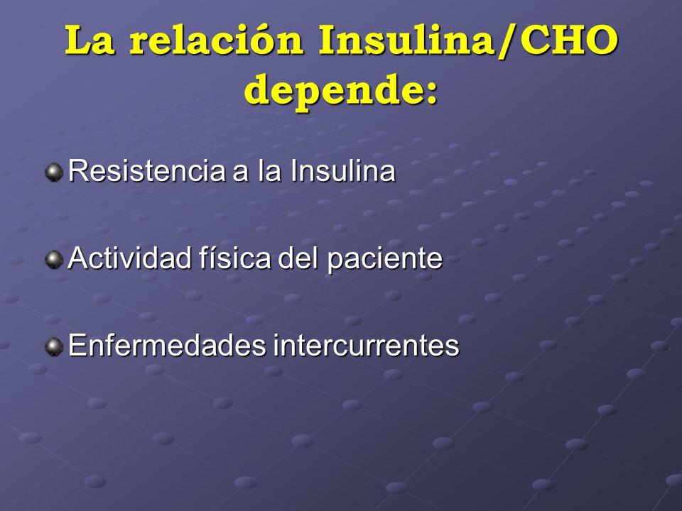 La relación Insulina/CHO depende: Resistencia a la Insulina Actividad física del paciente Enfermedades intercurrentes