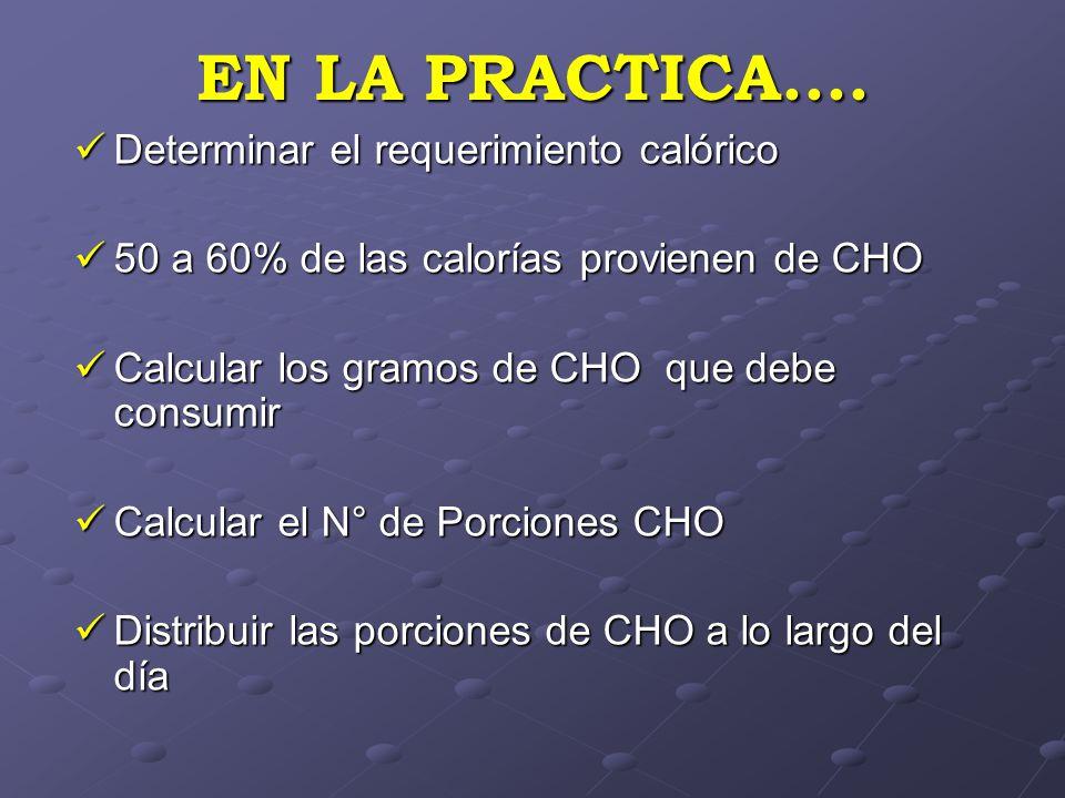 EN LA PRACTICA.... Determinar el requerimiento calórico Determinar el requerimiento calórico 50 a 60% de las calorías provienen de CHO 50 a 60% de las