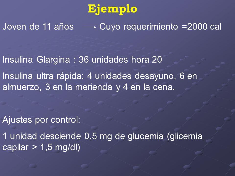 Ejemplo Joven de 11 años Cuyo requerimiento =2000 cal Insulina Glargina : 36 unidades hora 20 Insulina ultra rápida: 4 unidades desayuno, 6 en almuerzo, 3 en la merienda y 4 en la cena.