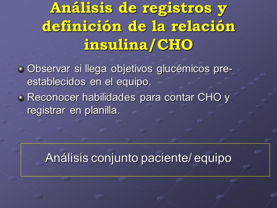 Análisis de registros y definición de la relación insulina/CHO Observar si llega objetivos glucémicos pre- establecidos en el equipo. Reconocer habili