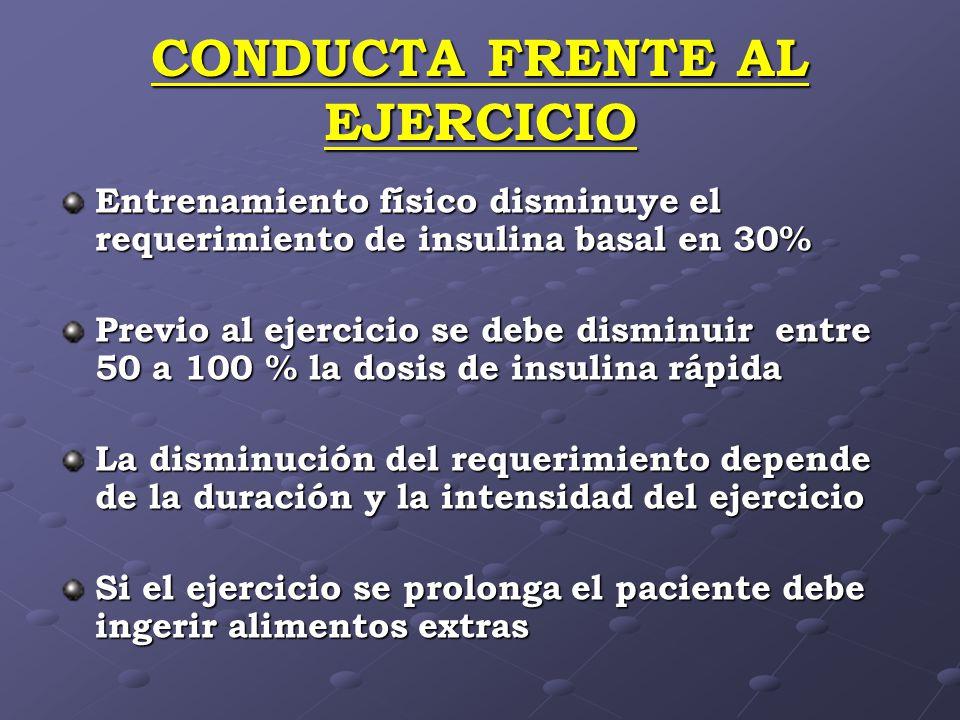 CONDUCTA FRENTE AL EJERCICIO Entrenamiento físico disminuye el requerimiento de insulina basal en 30% Previo al ejercicio se debe disminuir entre 50 a