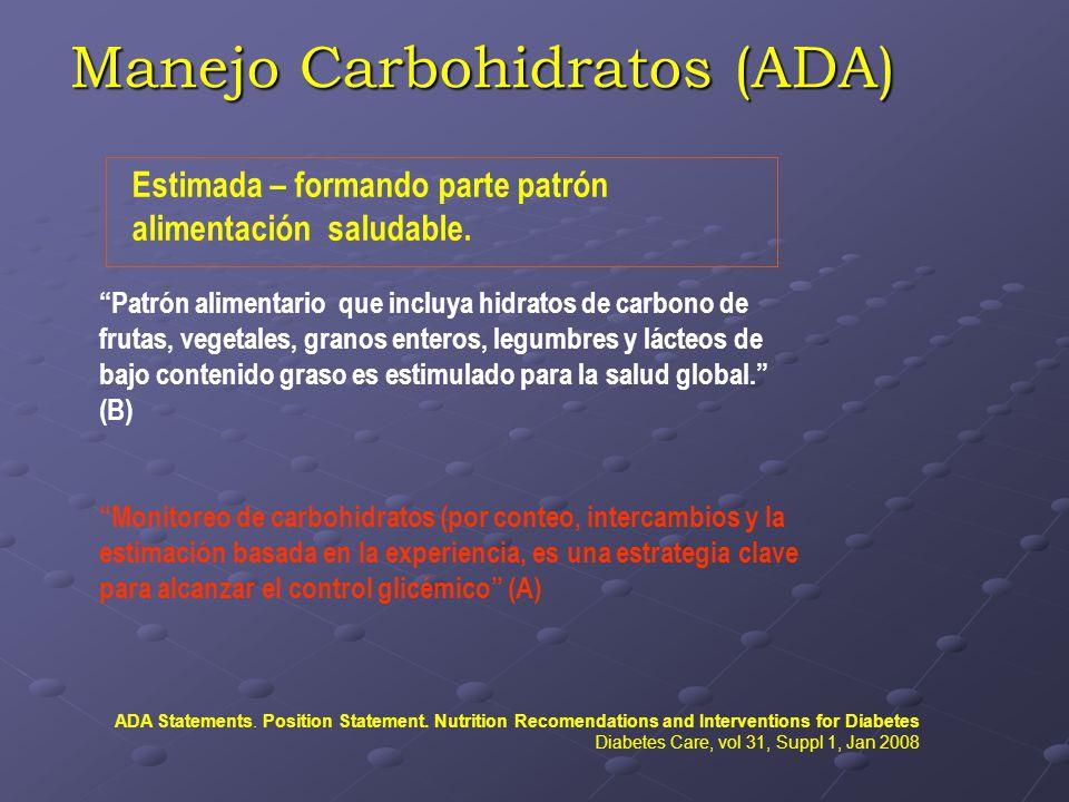 Manejo Carbohidratos (ADA) Estimada – formando parte patrón alimentación saludable. Patrón alimentario que incluya hidratos de carbono de frutas, vege